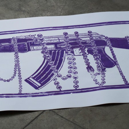 Limited Edition #1 of 50 Woodblock Print AK-47